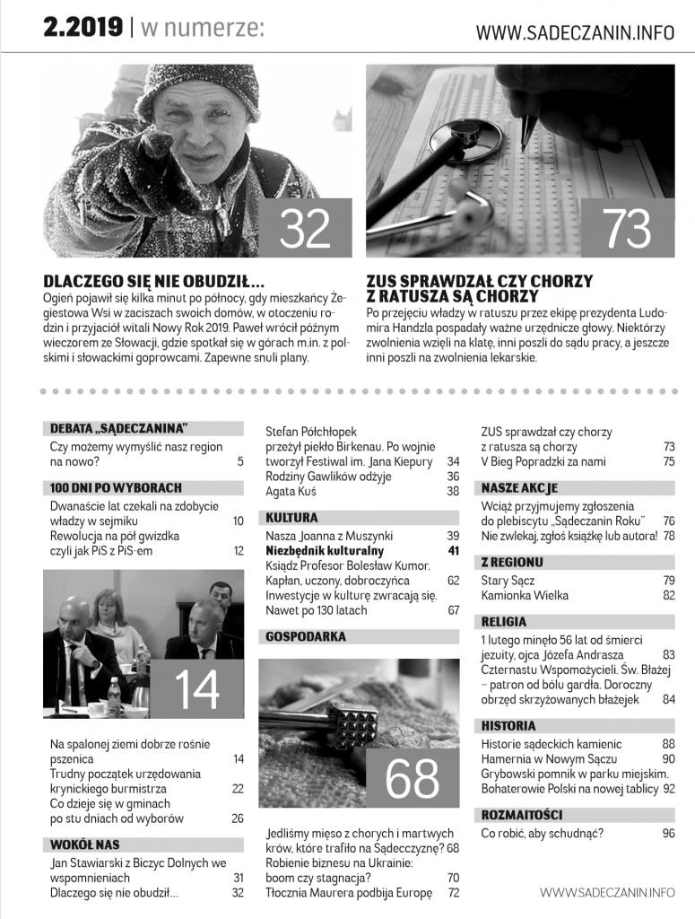 Spis treści miesięcznika Sądeczanin luty 2019
