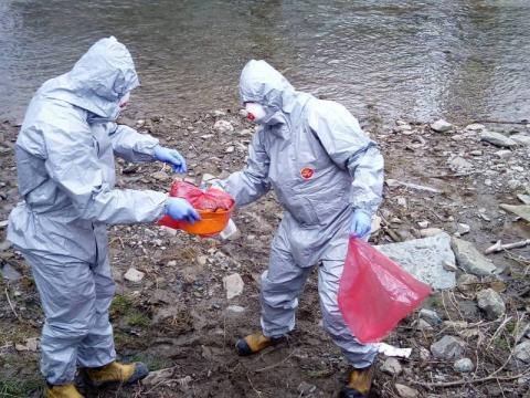 Pojemniki z niebezpieczną substancją nad brzegiem rzeki. Skąd się tam wzięły?