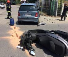 Uderzył motocyklem w samochód. Na długo zapamięta ten dzień