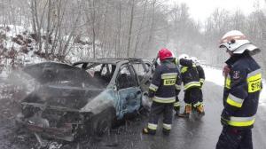 Pożar samochodu w Miłkowej