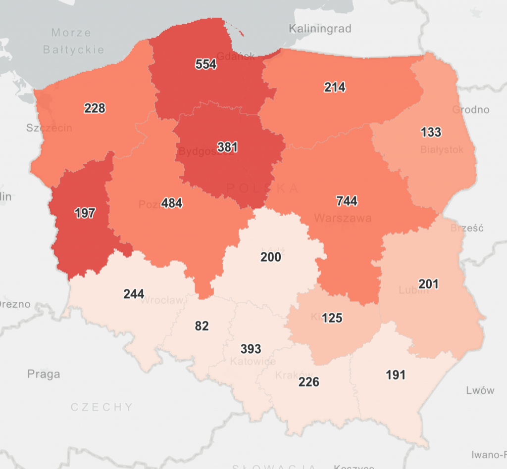 Dzienna liczba zakażeń dla województw 7 lutego 2021