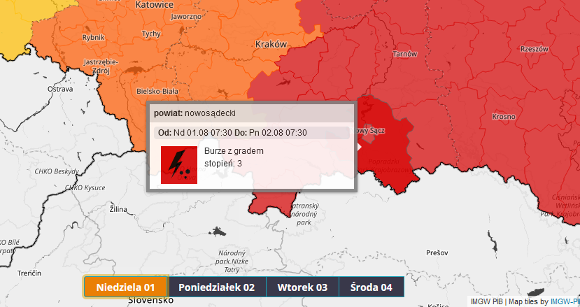 Prognoza podody dla Małopolski jest na dziś fatalna: burze, deszcz i gradobicie