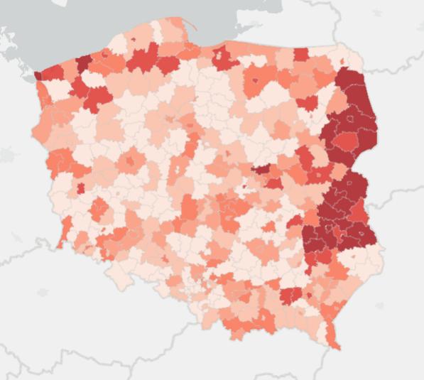 Mapa zakażeń w Polsce