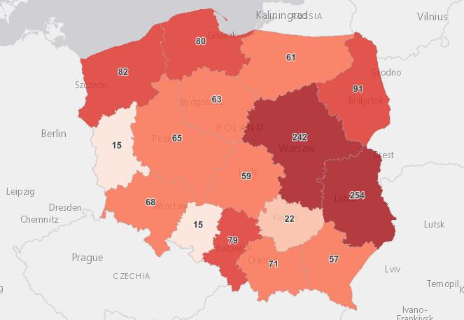 Liczba zakażeń w województwach na 2 października 2021 roku