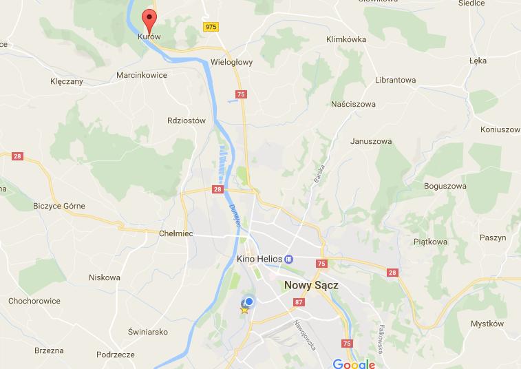 wypadek w Kurowie mapa Google