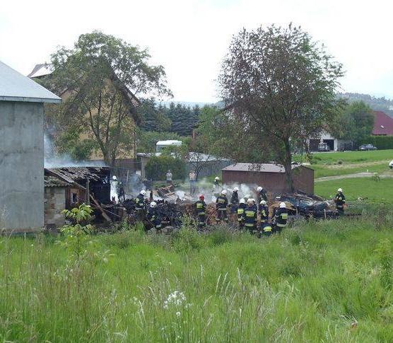 Gołkowice Dolne, pożar budynku gospodarczego