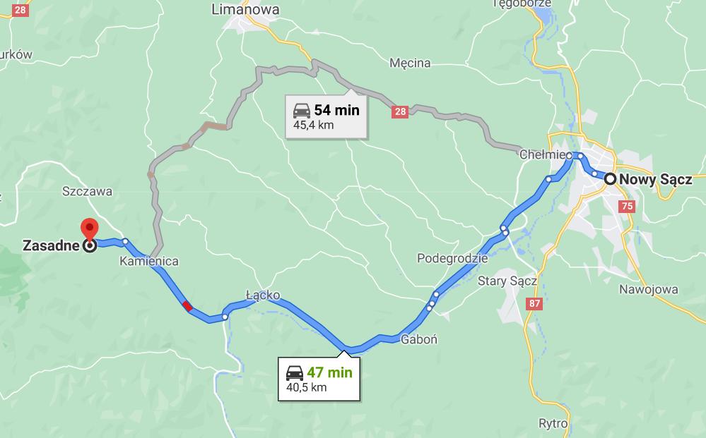 Dojazd z Nowego Sącza do Zasadne, google maps