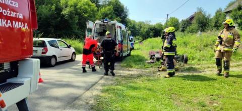 Wypadek w Kamionce. Traktorzysta trafił do szpitala
