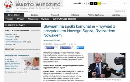 Nowy Sącz: Nowak – spółki są przedsiębiorstwami misyjnymi