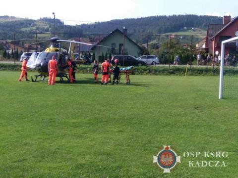 Obidza, poparzona kobieta zabrana do szpitala, fot. OSP Kadcza