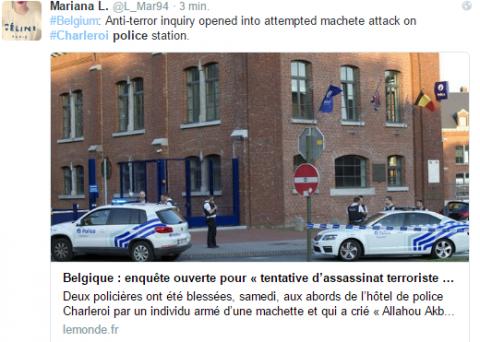 Belgia. Dwie policjantki ranne po ataku maczetą. Fot. Twitter