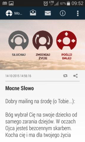 Mocne Słowo - aplikacja na telefon z inspirującymi cytatami