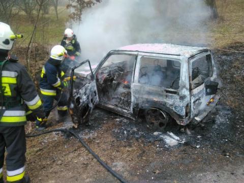 Pożar samochodu w Zagorzynie, fot. OSP Zagorzyn