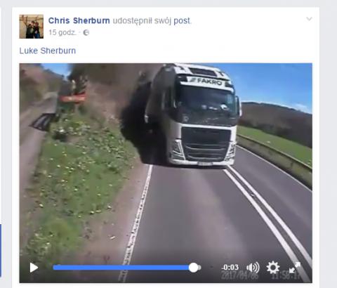 Kierowca ciężarówki FAKRO jechał pod prąd na czołówkę, filmik trafił do sieci w Wielkiej Brytanii