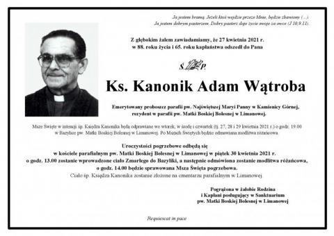 Nie żyje ks. kanonik Adam Wątroba. Był rezydentem w limanowskiej bazylice
