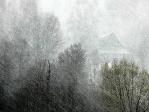 Śnieżny szkwał w Krynicy. Deszcz, burza, wiatr, słońce i śnieg...