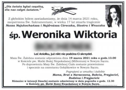 Bliscy pożegnają Weronikę, która zginęła w wypadku. Miała zaledwie 17 lat