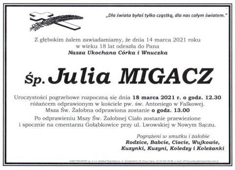 Z głębokim żalem zawiadamiamy, że 14 marca, w wieku 18 lat, odeszła do Pana nasza ukochana córka i wnuczka, ś.p. Julia Migacz.