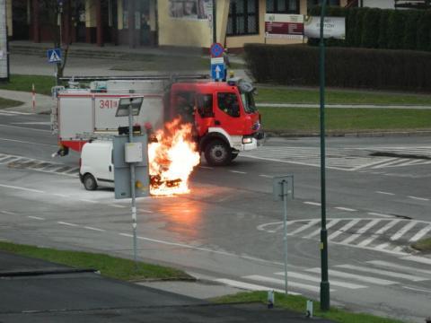 pożar fiata I Brygady