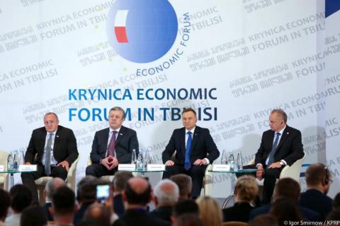 Prezydent Andrzej Duda na otwarciu Forum Ekonomicznego w Tbilisi