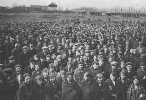 Strajk w Łodzi, rok 1927. Fot. NAC