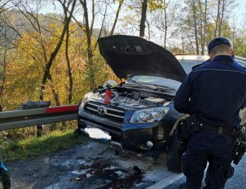 W Witowicach Dolnych płonął samochód. Nikt nie ucierpiał