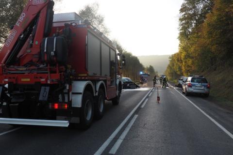 Wypadek w Dąbrowej. Nikt nie został poszkodowany
