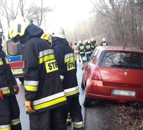 Korzenna: samochód wypadł z jezdni. Kobieta w ciąży zabrana do szpitala