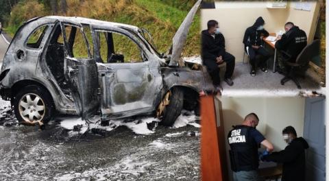 Ich samochód uderzył w przepust i stanął w ogniu. Autem jechali obcokrajowcy