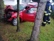 Wypadek w Nawojowej. Samochód wypadł z drogi i uderzył w drzewo [ZDJĘCIA]