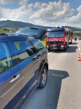 Łososina Dolna, zderzenie trzech samochodów, fot. PSP w Nowym Sączu