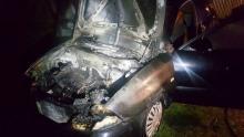Nocny pożar w Januszowej. Samochód stanął w płomieniach