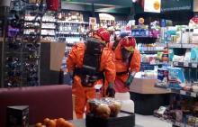 akcja strażaków na stacji paliw w Nowym Sączu, fot. PSP w Nowym Sączu