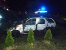 Maszkowice: Spłonął samochód, wcześniej zderzył się z radiowozem