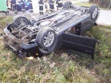 Wypadek w Stadłach. Nie dość, że uszkodził auto, to jeszcze trafił do szpitala