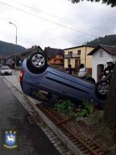 wypadek na Węgierskiej w Piwnicznej. Fot. OSP Piwniczna