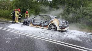 Mercedes stanął w ogniu. Pozostał z niego jedynie spalony wrak [ZDJĘCIA]